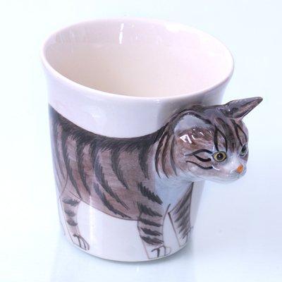 tasse mug chat animaux ceramique fait a main pour maman papa maitresse maitre anniversaire tasse mug animaux (chat tigre grise 14 x 15 x 12 cm )