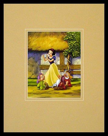Walt Disney (Snow White and The Seven Dwarfs) Two Hearts as One Poster Bild Kunstdruck im Alu Rahmen in schwarz 50x40cm (Snow White Bilderrahmen)