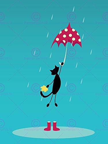 Doppelganger33 LTD Painting Illustration Cartoon Cat Umbrella Wellies Rain Canvas Art Print - Print Wellies