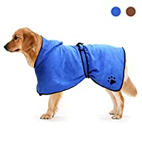 Zellar Dog Bathrobe Towel with Adjustable Strap Hood, Microfibre Fast Drying Super Absorbent Pet Dog Cat Bath Robe Towel for Drying Coats