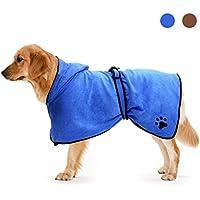 Zellar Toalla para Perros con Capucha Ajustable, de Microfibra de Secado rápido súper Absorbente (XL,Azul)