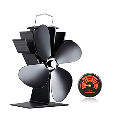 Silent Log Wood Burner Heat Powered Stove Fan with 4 Blade & Stove Thermometer for Fireplaces-Eco Friendly Circulation
