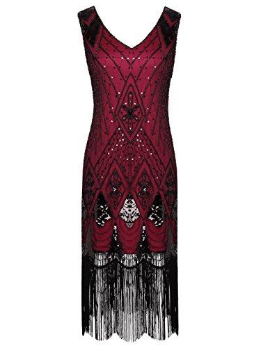 FAIRY COUPLE 1920er Gatsby Pailletten verziert Quasten Saum Flapper Kleid D20S014 (L, Burgund Schwarz) (Saum Slip Kleid)