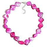 2LIVEfor Perlmutt Kette Perlen Pink Rosa Schmuck Echt echte Perlenkette Perlmutt Muschel Steine Halskette Perlen Damen pinke Perlenkette Perlmutt Schmuck Kette Naturstein