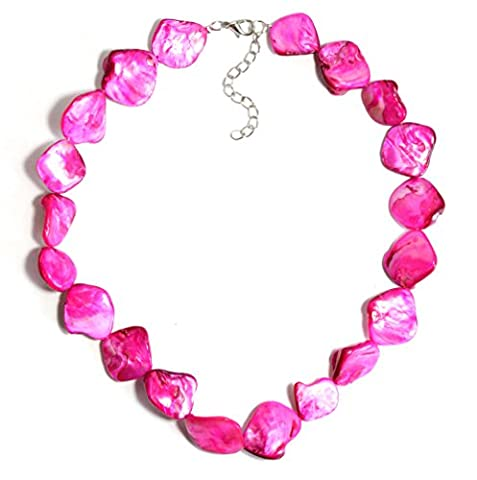 2LIVEfor collier rose nacré collier fantaisie femme collier fushia collier pierre naturelle