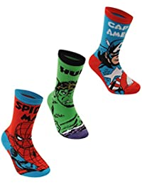 Marvel Avengers Crew Socks 3 Pack Childs Red/Green/Blue Character Sock