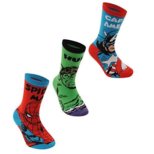 Marvel avengers - confezione da 3 calzini per bambini rosso/verde/blu carattere sock, childs 26-32 eu