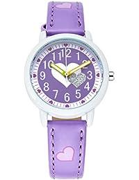 Montre Fille à Quartz Analogique - Montre Bracelet Cuir Cadeau Idéal - Violet