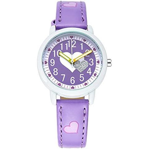 FEOYA - Reloj de Pulsera Diseño de Cuarzo Analógico para Niños Niñas Correa de Piel Colorido -