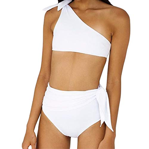 440d8bde84 Lazzgirl Women High Waisted Bikini Halter Neck Bikini Bandage Two Piece  Swimsuit (White,L