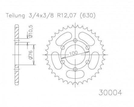 Preisvergleich Produktbild Kettenrad 42 Zähne Stahl 630er Teilung (3 / 4x3 / 8) für Suzuki GSX 1100 EF GV71C 1984-1985