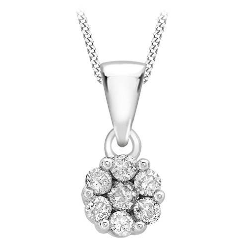 Carissima Gold 9ct White Gold Invisible Diamond Pendant on Curb Chain Necklace of 46cm
