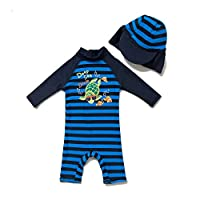 BONVERANO Baby Boy Swimsuit UPF 50+ Sun Protection 3/4 Sleeves One Piece Zip Sunsuit (Navy, 6-9 months)
