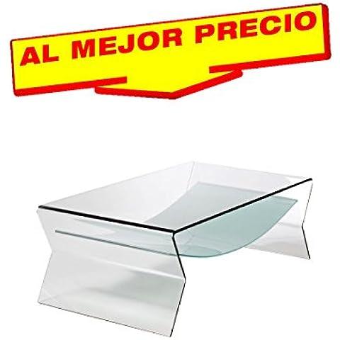 MESA DE CENTRO BAJA, RECTANGULAR, CRISTAL CURVADO, 120x65 CMS DISEÑO MODERNO MODELO BROADS - OFERTAS HOGAR -¡AL MEJOR PRECIO!