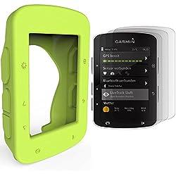 TUSITA Funda protectora de silicona + Protector de pantalla para Garmin Edge 520 820 GPS Bike Computer (Verde)