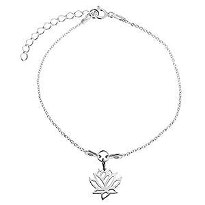Bracelet fin breloque Lotus - Argent 925 - Idéal cadeau à offrir - Chaîne fine de 15 à 19 cm -
