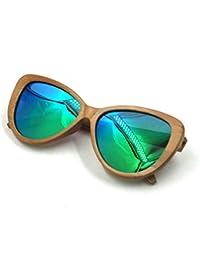 Cat Eye Bamboo Frame Silvery Polarized Lenses Men Women Sunglasses (Cat Eye - B01J9E3GLW