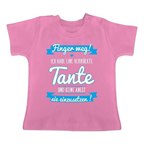 Sprüche Baby - Ich Habe eine verrückte Tante Blau - 18-24 Monate - Pink - BZ02 - Baby T-Shirt Kurzarm -
