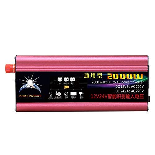 2000W Profesional DC al inversor de Corriente alterna 12V / 24V al inversor automotriz de la Fuente de alimentación del Coche 220V