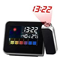 FJHJB Newest New LED Backlight Digital Weather Projection Alarm Clock Weather Forecast Station