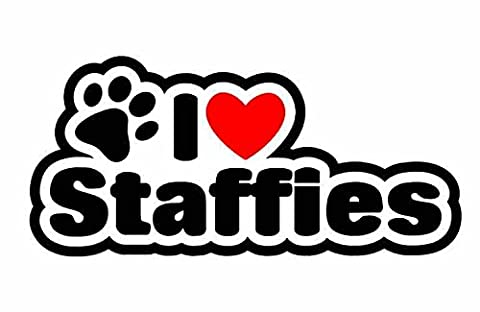 I Love Staffies - Staffordshire Bull Terrier Dog - Sticker