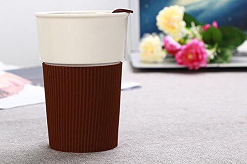 Mode 237 ml. (8 Unzen) Porzellan Kaffee Becher mit Silikon Ärmel Geburtstag Party Drink Tasse Geschenk (Kaffee Ärmel)