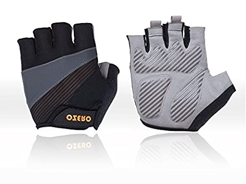 OZERO Driving Gloves, Weightlifting Gloves with Anti-slip Shock-absorbing Biking Gloves For Women and Men(Gray, Medium)