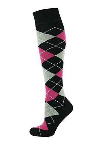 Mysocks® Kniehohe Argyle Socken Schwarze rosa - Jungen Schwarz Nahtlose Socken