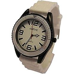 Alpine - Unisex Armbanduhr mit Silikon Gummi Armband Armee Still Japanisches Uhrwerk