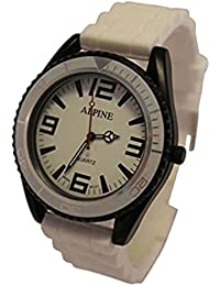 Alpino juguete estilo UNISEX de silicona blanco goma correa ejército estilo analógico relojes