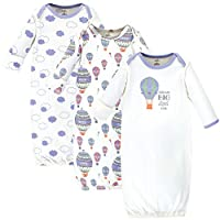 Touched by Nature Baby Organic Cotton Gowns, Hot Air Balloon 3-Pack, 0-6 Months