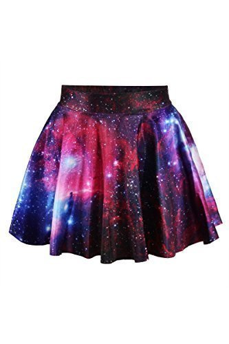cfanny-womens-stunning-galaxy-print-flared-mini-skirt-one-size-multicoloured