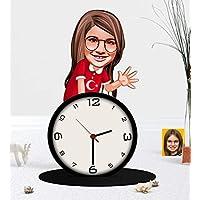 Kişiye Özel Kız Çocuk Karikatürlü Ahşap Biblo Masa Saati-2
