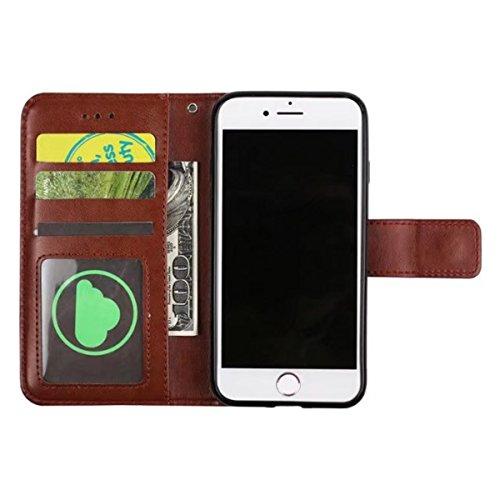 iPhone 7 Hülle, iPhone 7 Brieftasche, Lifetrut Premium Mandala Emboss PU Leder 2 in 1 Wallet Flip Folio Case Magnetische abnehmbare Rückenabdeckung & Handschlaufe für iPhone 7 [Braun] E202-Braun