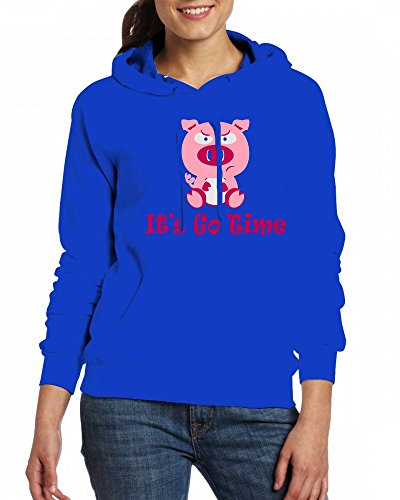 Cute Pig Womens Hoodie Fleece Custom Sweartshirts blue