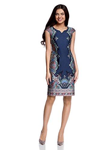 oodji Collection Damen Baumwoll-Kleid mit Ethnischem Druck, Blau, DE 36 / EU 38 / S -