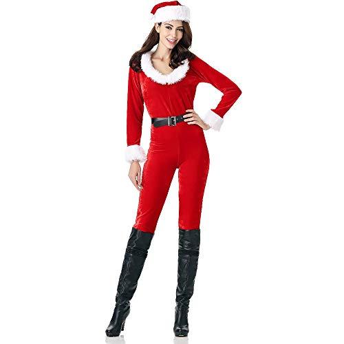 XIADE Damen Santa Claus Jumpsuit Set Kostüm für Erwachsene Hübscher runder Kragen Weihnachten Dress Up Weihnachten Fantasy Holiday - Weihnachten Fantasy Sexy Santa Kostüm Frauen