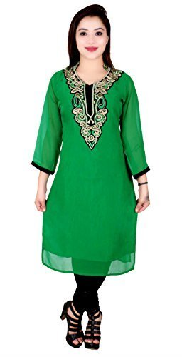 Indian Damen Billig Tunika Top für Bollywood Party Thema Kostüm Kurti 7014 - Grün, 38 (UK 10) S