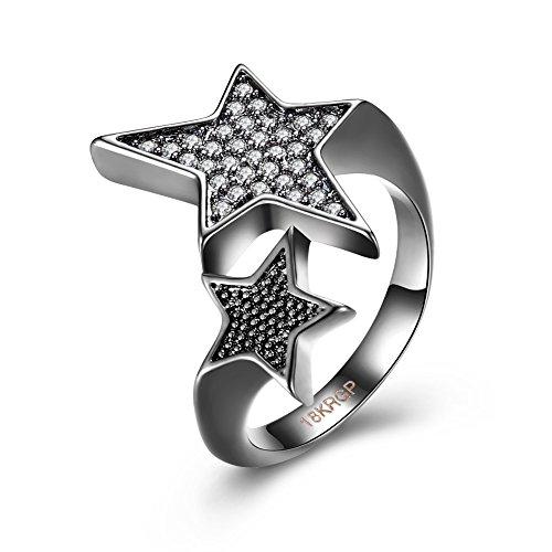Zantec Crystal Star Twisted Zirkonia Ring Frauen und Männer Hochzeit Party Schmuck Geschenk (Weibliche Film Stars Kostüme)