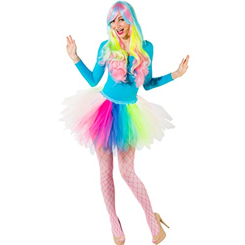 Ballett Kostüm Romantische - NET TOYS Buntes Regenbogen-Tutu für Kinder | Einheitsgröße für Kinder 116 - 140 | Romantischer Mädchen-Rock Ballett-Tänzerin | EIN Blickfang für Kinder-Fasching & Fasnet