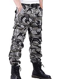 FEOYA - Pantalones de Cargo Largos para Hombres Pantalones Trabajo  Deportivo Pantalones Camuflaje Militar Multibolsillos de 00a03a3dde1f