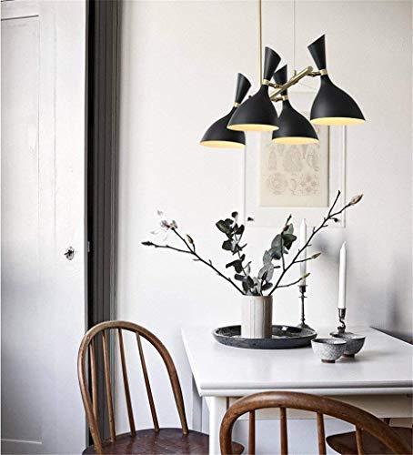 Schwarz Vier-licht Kronleuchter (KFDQ Schlafzimmer Wohnzimmer Dekoration Kronleuchter, Kronleuchter, Kronleuchter E14 * 4/6 Grün, Eisen, Kronleuchter Kristall,Schwarz-4 Licht)