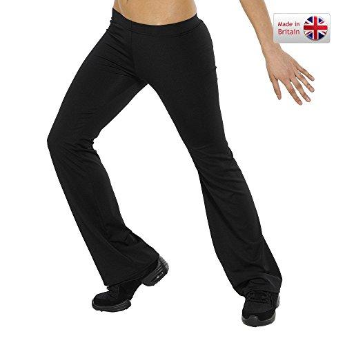 DANCEWEAR WORLD DIRECT Tappers & Pointers Nylon Lycra Hipster-Jazz Pants, Damen, schwarz - Adult Jazz Pant