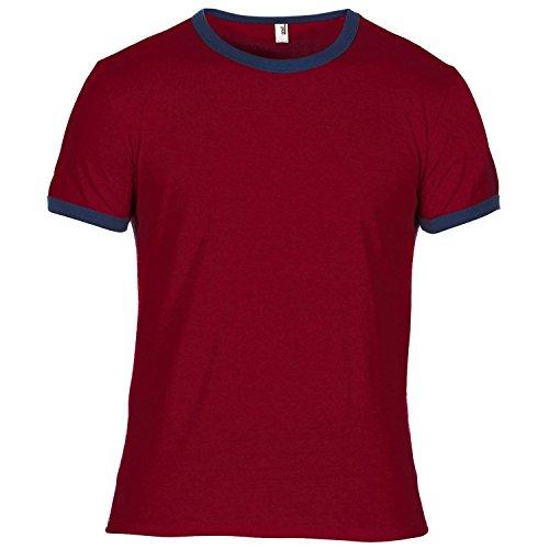 Anvil Herren Ringer T-Shirt mit Rundhalsausschnitt, Kurzarm, besonders leicht (Small) (Rot/Marineblau) -