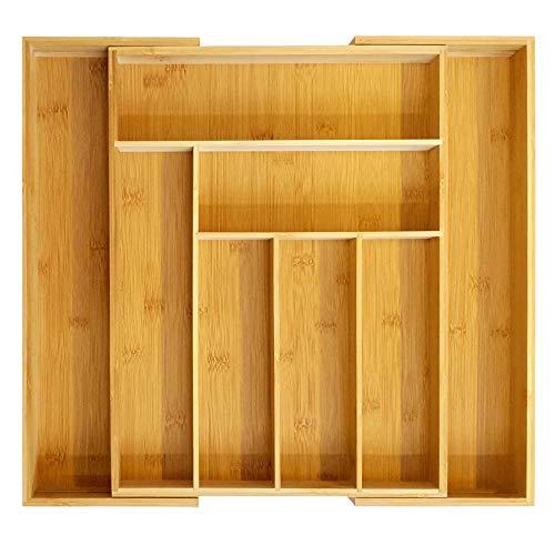 Premium Qualität 100% Bio Bambus Besteckkasten Schublade/Schreibtisch Organizer Küche Storage 6-8 Fächer Organizer Ausziehbarer Messer- und Utensilienhalter aus Holz (Holz-küche-schublade Teiler)