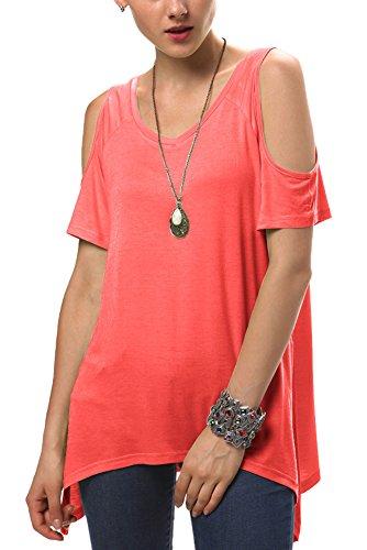 Urban GoCo Donna Camicia Spalla-Off Tunica Tops Orlo Irregolare Moda T-Shirt Corallo rosso