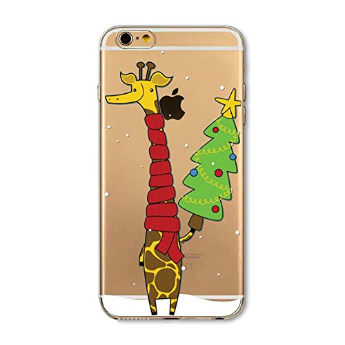 Coque Housse pour iPhone 6/6S, iPhone 6S Coque Silicone Etui Housse,iPhone 6 Souple Coque Etui en Silicone,iPhone 6/6S Silicone Transparent Case TPU Cover, Ukayfe Etui de Protection Cas en caoutchouc  Girafe de Noël