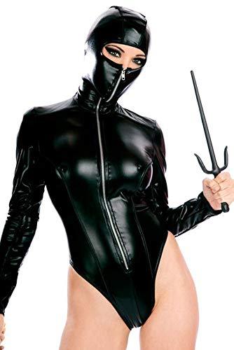 AWSAYS 2019 Frau Ninja Onesies Sexy Lackleder KostüM Cosplay Sexy Dessous Maskierte Frau Uniform