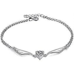 Fashmond ValentinstagGeschenk Schmuck Flügel und Herzen Fußkettchen Fußkette für Damen Frauen Mädchen Herren Männer Kinder Freundin Freund