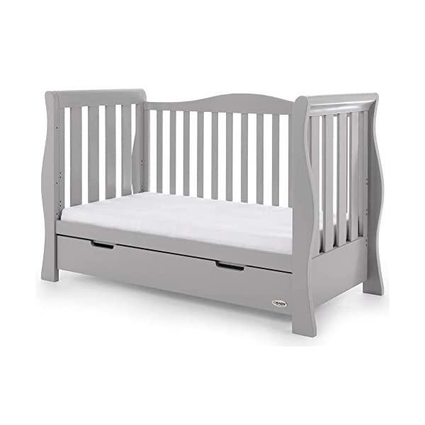 Obaby Stamford Luxe Sleigh Cot Bed, Warm Grey Obaby Adjustable 3 position mattress height Sides remove to transform into toddler bed Includes matching under drawer for storage 13